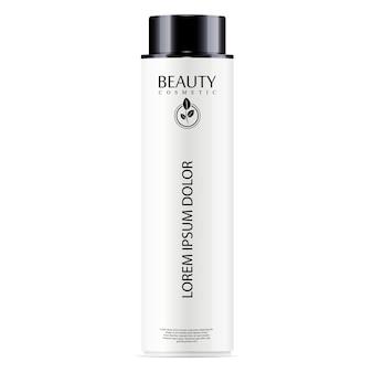Tónico facial botella cosmética blanca, champú para el cabello.