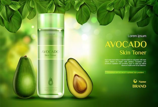 Tónico para la piel cosmética del aguacate. la botella orgánica del producto de belleza en el verde borroso con el árbol se va.