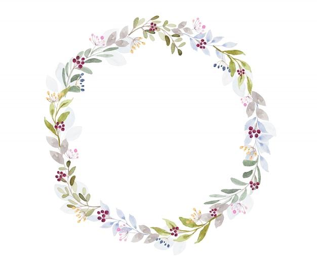 Tono claro hermoso marco redondo de flores de acuarela sobre fondo blanco.