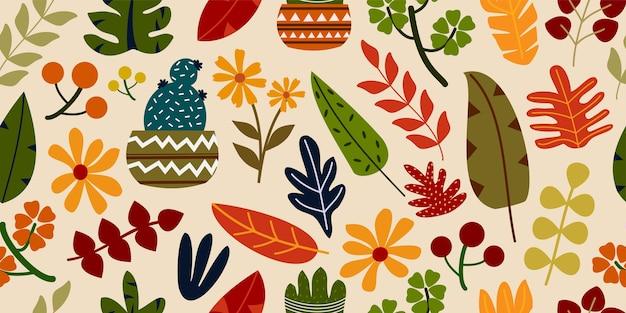 Tono de tierra colorido moderno dibujado a mano colección de flores y plantas abstractas orgánicas en patrón horizontal sin costuras