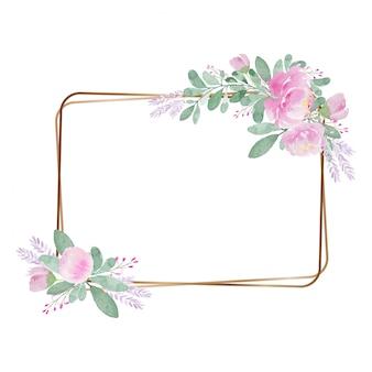 Tono vintage claro marco de invitación de flor preciosa acuarela
