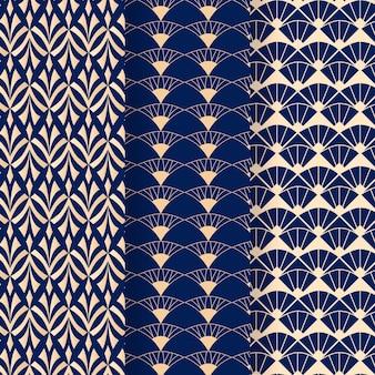 Tonos azules de patrones sin fisuras art deco