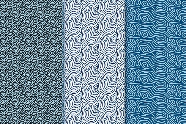 Tonos azules de patrones sin fisuras de líneas redondeadas