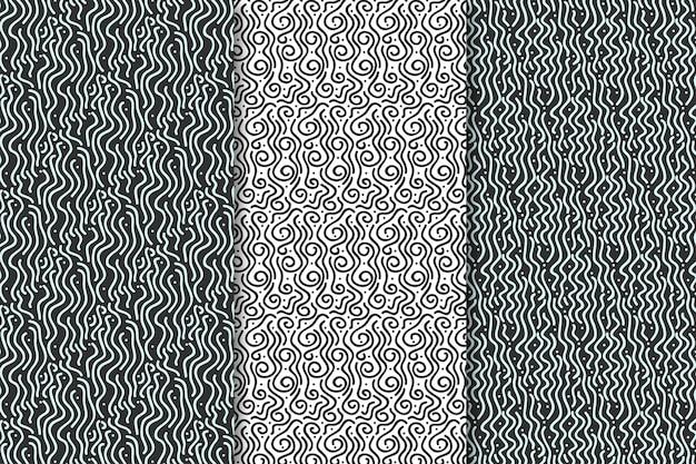 Tonos grises de patrones sin fisuras de líneas redondeadas