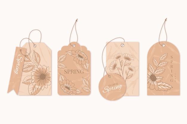Tonos marrones de perchas florales de primavera