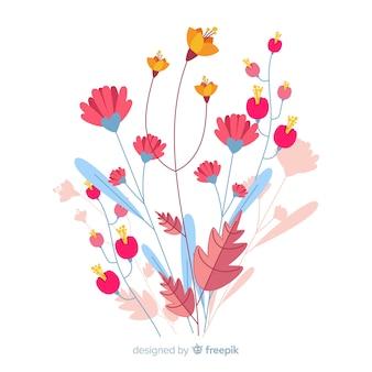 Tonos rosados de flores de primavera en diseño plano