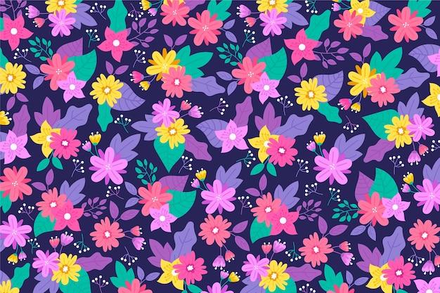 Tonos violetas de fondo floral ditsy con flores doradas