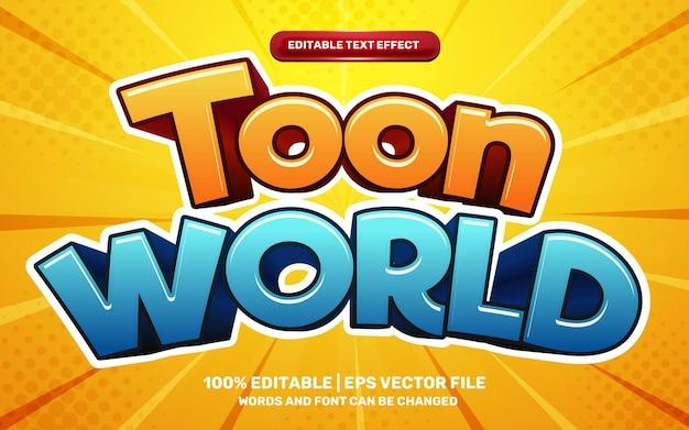 Toon world comic game efecto de texto editable 3d