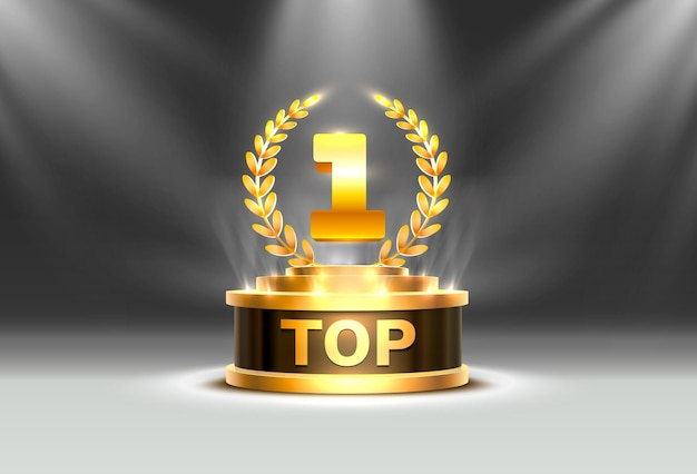 Top 1 mejor signo de premio de podio, objeto dorado