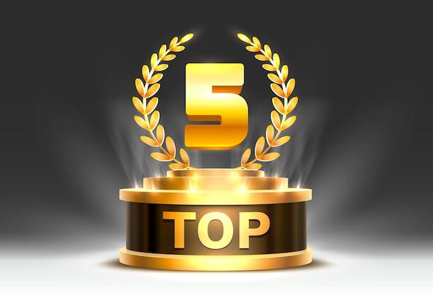 Top 5 mejor signo de premio de podio, objeto dorado