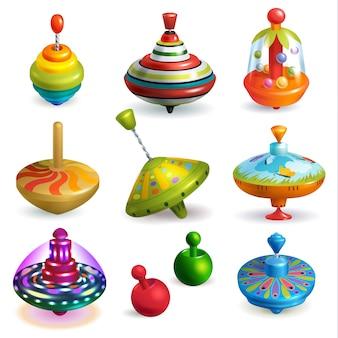 Top toy kids whirligig zumbido spinner y jugando colorido juego de spinning ilustración conjunto de dibujos animados giro infantil movimiento giro aislado sobre fondo blanco
