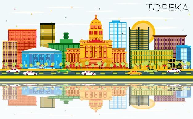 Topeka kansas usa skyline con edificios de color, cielo azul y reflejos. ilustración de vector. concepto de turismo y viajes de negocios con arquitectura moderna.