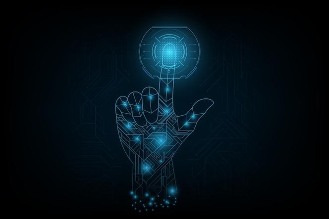 Toque el dedo en el futuro en concepto futurista.