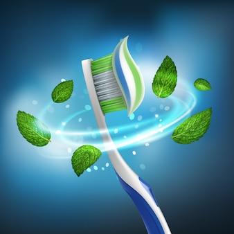 Torbellino aislado realista en 3d de hojas de menta alrededor de un cepillo de dientes con pasta extruida