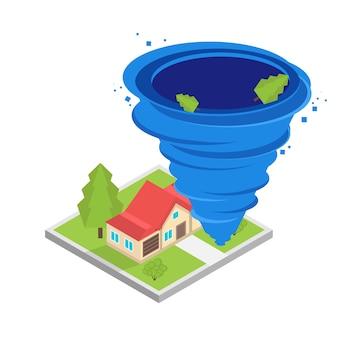 Torbellino de huracanes, tornado, tifón concepto isométrico. ilustración