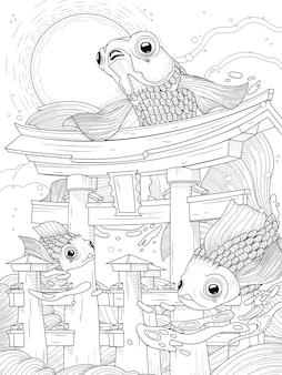 Torii japonés en el mar; con luna y peces dorados, blanco y negro