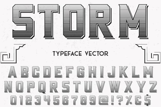 Tormenta de diseño de etiqueta de tipografía retro