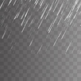 Tormenta de lluvia y nubes blancas sobre fondo transparente.