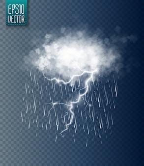 Tormenta y relámpagos con lluvia y nube blanca aislada