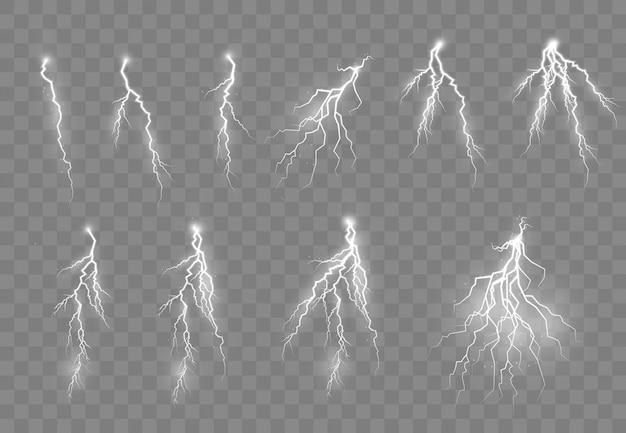 Tormentas eléctricas y relámpagos, efectos luminosos brillantes.