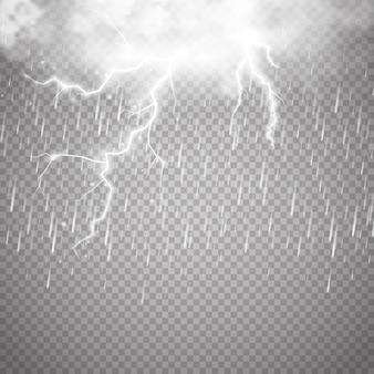 Tormentas y relámpagos con lluvia y nubes blancas aisladas sobre fondo transparente