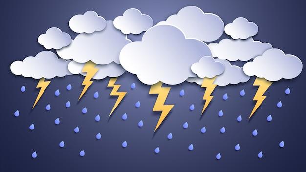 Tormentas de verano. nubes de tormenta, tormentas eléctricas, rayos y clima lluvioso. ilustración de papel artesanal de truenos y relámpagos