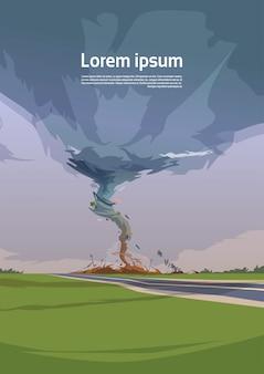 Tornado en campo huracán paisaje de tormenta tormenta de agua tornado en campo concepto de desastre natural