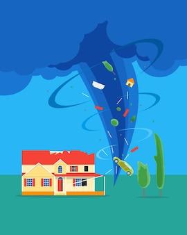 Tornado de dibujos animados o huracán destruye el concepto de casa seguro de elementos de diseño de estilo plano seguro de concepto de desastre