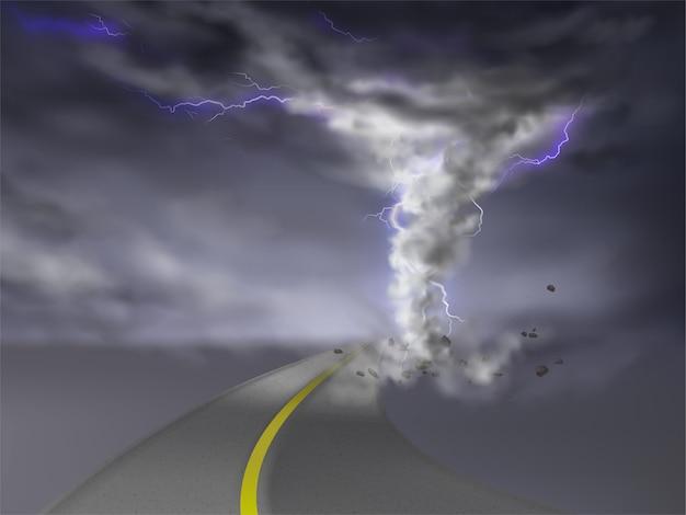 Tornado realista con relámpagos, huracán gris en carretera, aislado en centrico transparente