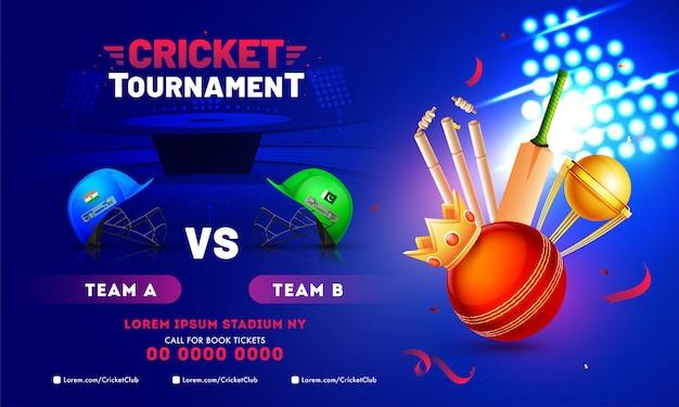 Torneo de cricket diseño de banner con equipamiento de cricket.
