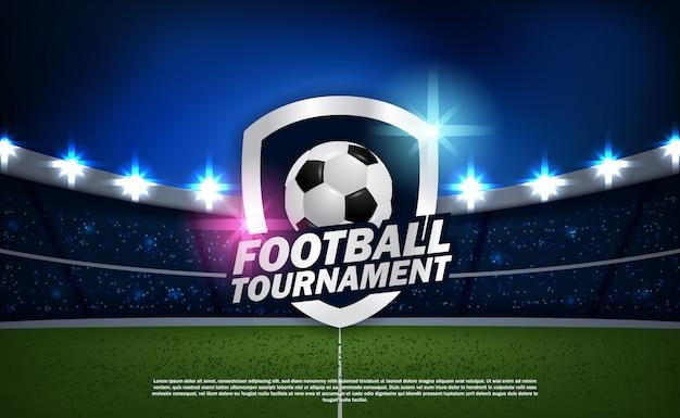 Torneo de fútbol soccer con el logotipo del emblema de la pelota campeonato con estadio