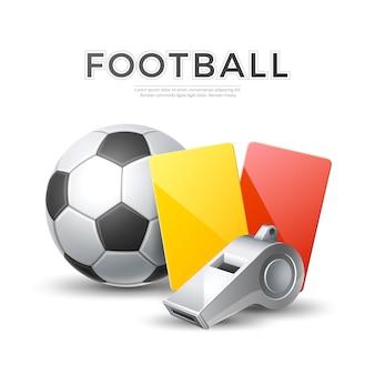 Torneo de fútbol soccer. vector silbato de árbitro realista, bola amarilla, tarjetas rojas