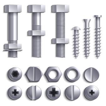 Tornillos de metal, pernos de acero, tuercas, clavos y remaches aislados en el conjunto de vectores blancos