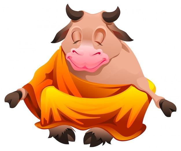 Toro buda sentado en posición de loto y meditando
