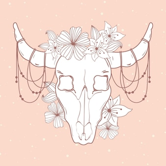 Toro cráneo cuernos flores decoración boho y estilo tribal ilustración