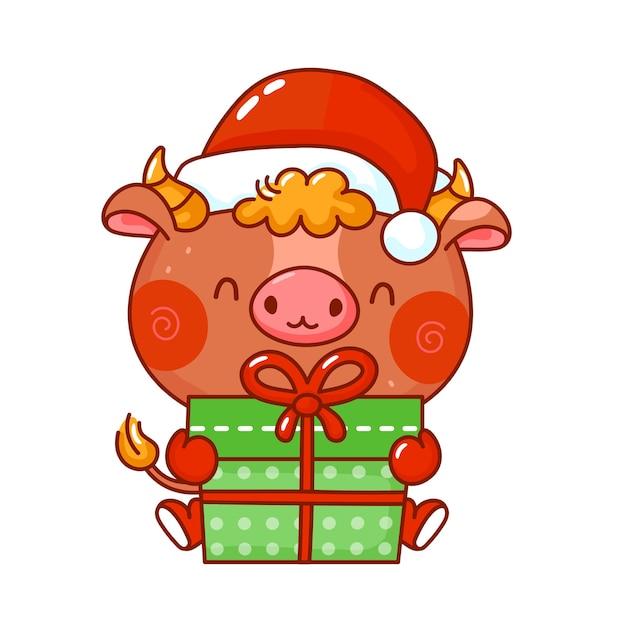 Toro divertido lindo en carácter de gorro de navidad
