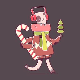 Toro divertido con personaje de dibujos animados de árbol de navidad y bastón de caramelo aislado sobre fondo.