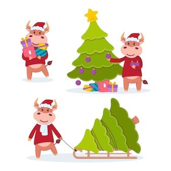 Toro lleva regalos, arrastra en un trineo y decora un árbol de navidad. año del buey. conjunto de vacas felices. ilustración de año nuevo y feliz navidad.