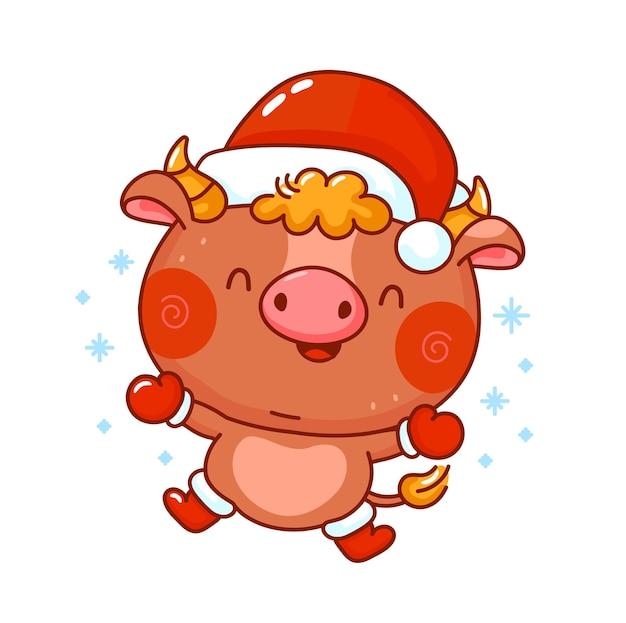 Toro de navidad divertido lindo
