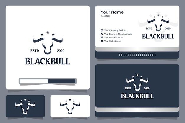 Toro negro, poder, corporativo, diseño de logo y tarjeta de visita.