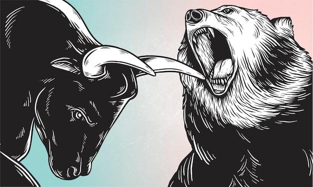 Un toro y un oso luchando vector
