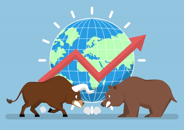 Toro y oso con mundo y gráfico