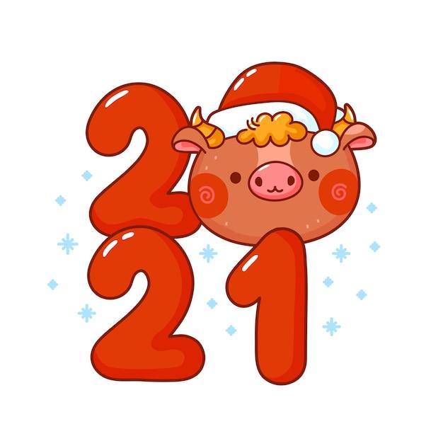 Toro de símbolo de año nuevo divertido lindo en casquillo de la navidad.