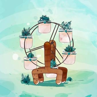 Torre de árbol en estilo doodle de acuarela.