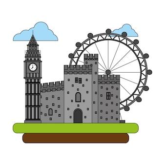 Torre big ben con castillo antiguo y rueda panorámica
