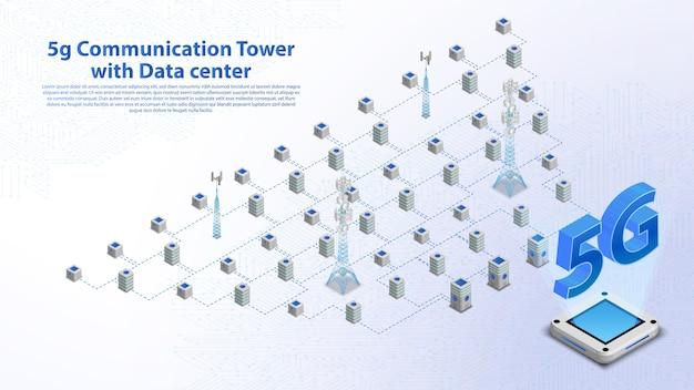 Torre de comunicación 5g internet inalámbrico hispeed con banner de centro de datos