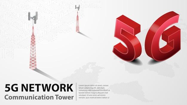 Torre de comunicación 5g internet inalámbrico hispeed con centro de datos