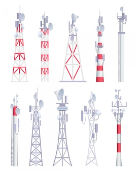 Torre de comunicación. radiodifusión celular tv radio inalámbrica antena satélite construcción vector imágenes en estilo de dibujos animados