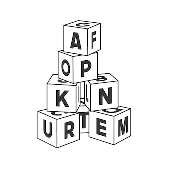 Torre de edificio de bloques de contorno con letras para colorear libro. ilustración de ladrillos del alfabeto sobre fondo blanco.