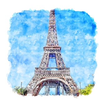 Torre eiffel parís francia acuarela dibujo dibujado a mano ilustración